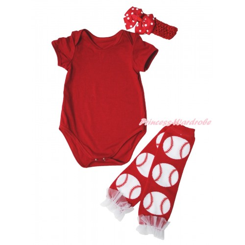 Red Baby Jumpsuit & Red Headband Red White Dots Silk Bow & White Ruffles Baseball Red Leg Warmer Set TH556