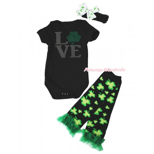 St Patrick's Day Black Baby Jumpsuit Rhinestone Love Clover Print & Black Headband Clover Silk Bow & Kelly Green Ruffles Clover Black Leg Warmer Set TH558