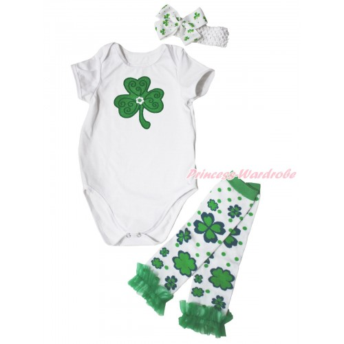 St Patrick's Day White Baby Jumpsuit Clover Print & White Headband Clover Silk Bow & Kelly Green Ruffles Clover White Leg Warmer Set TH559
