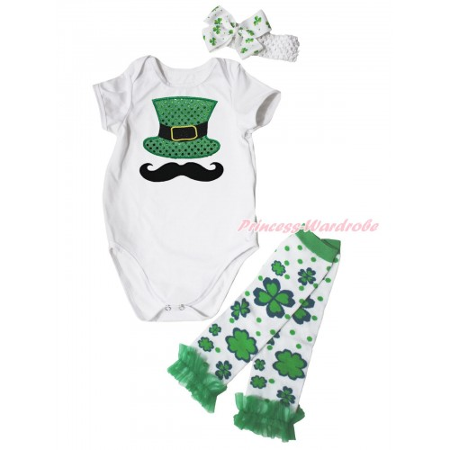 St Patrick's Day White Baby Jumpsuit Mustache Sparkle Kelly Green Hat Print & White Headband Clover Silk Bow & Kelly Green Ruffles Clover White Leg Warmer Set TH560