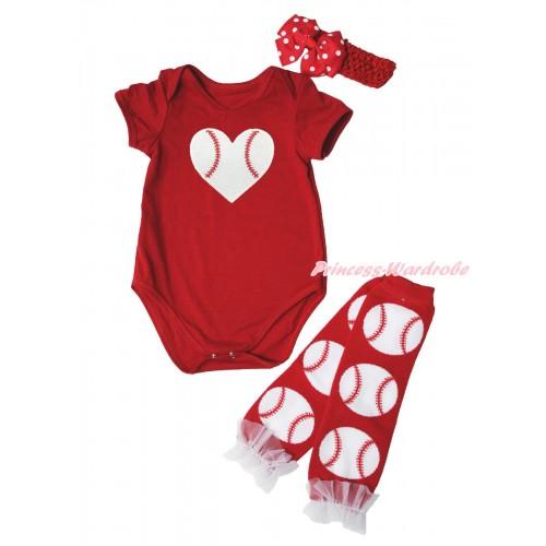 Red Baby Jumpsuit Baseball Heart Print & Red Headband Red White Dots Silk Bow & White Ruffles Baseball Red Leg Warmer Set TH561