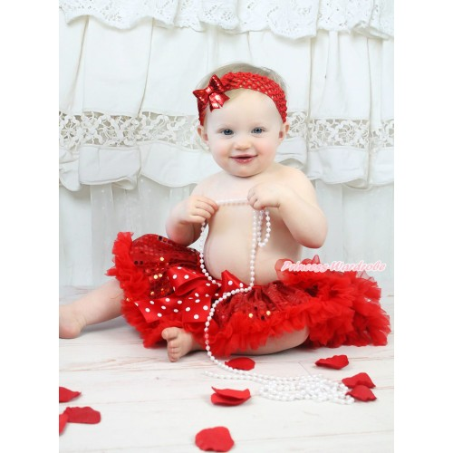 Hot Red Sparkle Bling Sequins Newborn Pettiskirt & Minnie Dots Bow & Red Headband Sequins Bow N243