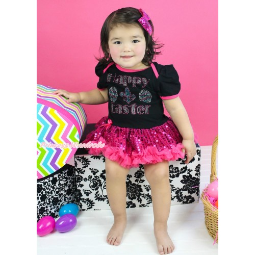 Easter Black Baby Bodysuit Bling Hot Pink Sequins Pettiskirt & Sparkle Rhinestone Happy Easter Print JS4400