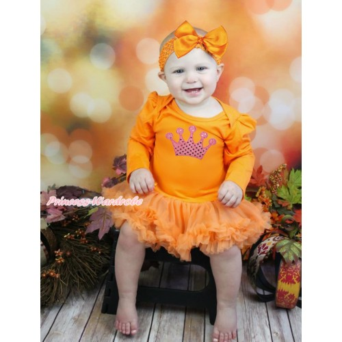 Queen's Day Orange Long Sleeve Bodysuit Pettiskirt & Sparkle Light Pink Crown Print JS4442