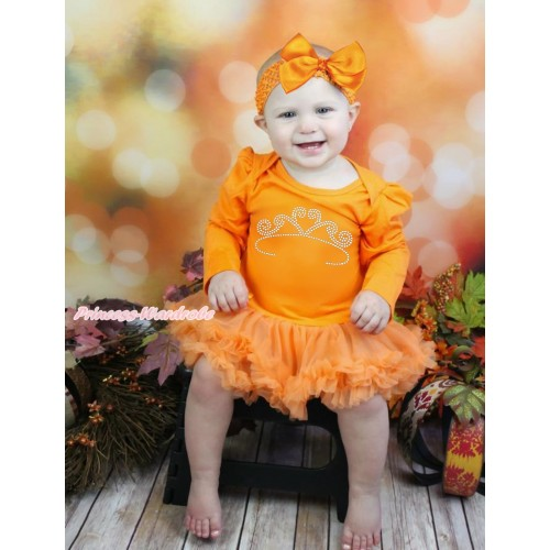 Queen's Day Orange Long Sleeve Bodysuit Pettiskirt & Sparkle Rhinestone White Crown Print JS4444