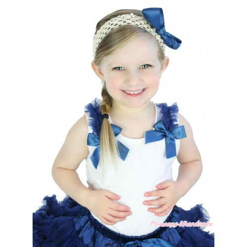 White Tank Top Navy Blue Ruffles & Bow TB1082