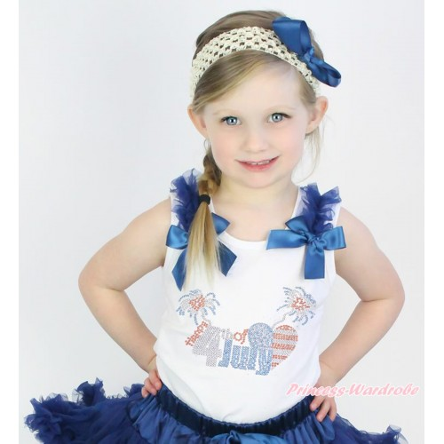 American's Birthday White Tank Top Navy Blue Ruffles & Bow & Sparkle Rhinestone 4th July Print TB1088