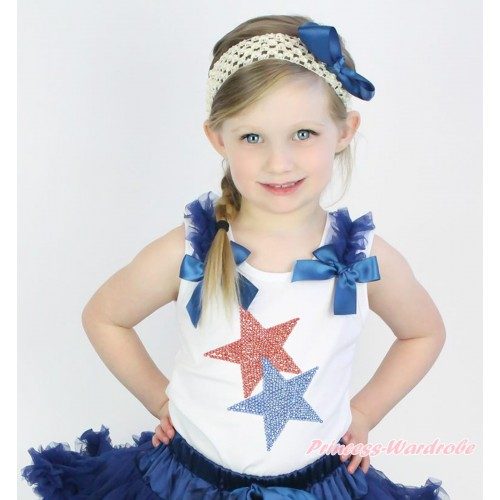 American's Birthday White Tank Top Navy Blue Ruffles & Bow & Sparkle Rhinestone Red Blue Twin Star Print TB1089