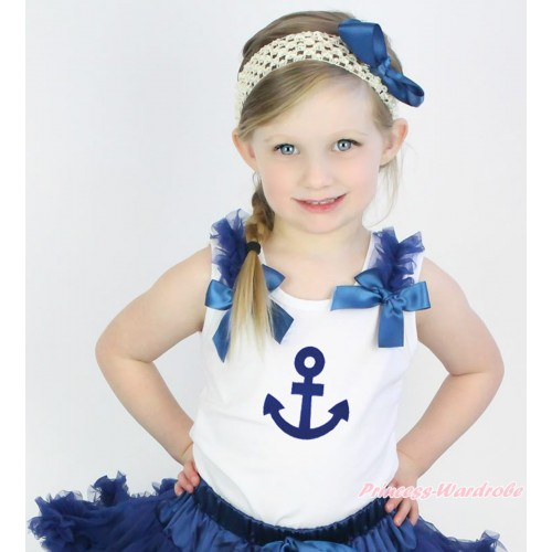 White Tank Top Navy Blue Ruffles & Bow & Royal Blue Anchor Print TB1090