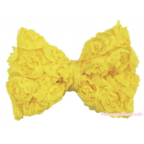 Yellow Romantic Rose Bow Hair Clip H1011