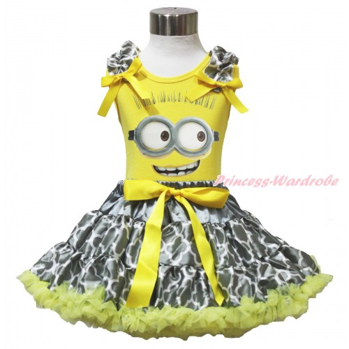 Yellow Tank Top Grey White Quatrefoil Clover Ruffles Yellow Bow & Minion Painting & Grey White Quatrefoil Clover Pettiskirt M636