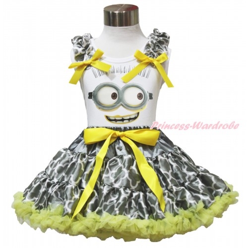 White Tank Top Grey White Quatrefoil Clover Ruffles Yellow Bows & Minion Painting & Grey White Quatrefoil Clover Pettiskirt MG1549