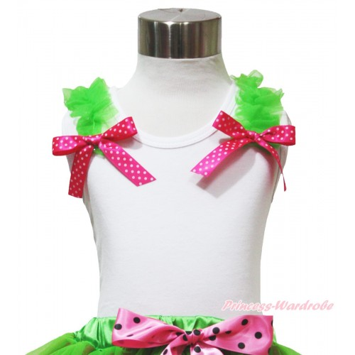 White Tank Top Dark Green Ruffles Hot Pink White Dots Bow TB1091