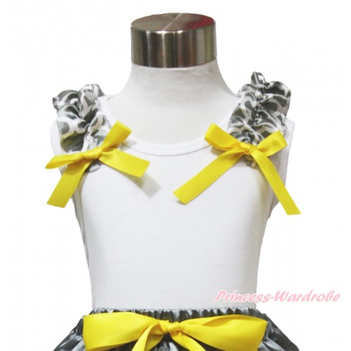 White Tank Top Grey White Quatrefoil Clover Ruffles Yellow Bow TB1092