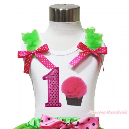 White Tank Top Dark Green Ruffles Hot Pink White Dots Bow & 1st Sparkle Hot Pink Birthday Number & Rosettes Cupcake Print TB1093