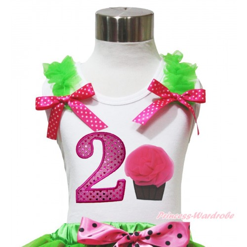 White Tank Top Dark Green Ruffles Hot Pink White Dots Bow & 2nd Sparkle Hot Pink Birthday Number & Rosettes Cupcake Print TB1094