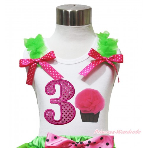 White Tank Top Dark Green Ruffles Hot Pink White Dots Bow & 3rd Sparkle Hot Pink Birthday Number & Rosettes Cupcake Print TB1095
