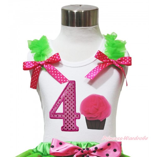 White Tank Top Dark Green Ruffles Hot Pink White Dots Bow & 4th Sparkle Hot Pink Birthday Number & Rosettes Cupcake Print TB1096