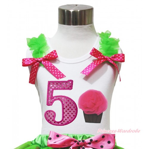 White Tank Top Dark Green Ruffles Hot Pink White Dots Bow & 5th Sparkle Hot Pink Birthday Number & Rosettes Cupcake Print TB1097