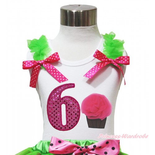 White Tank Top Dark Green Ruffles Hot Pink White Dots Bow & 6th Sparkle Hot Pink Birthday Number & Rosettes Cupcake Print TB1098