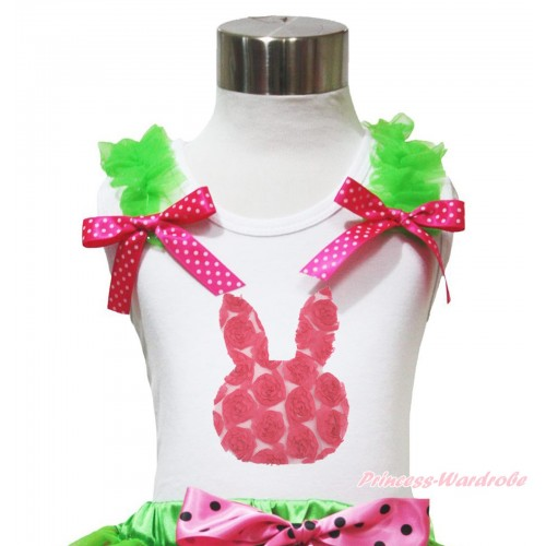 Easter White Tank Top Dark Green Ruffles Hot Pink White Dots Bow & Hot Pink Rose Rabbit TB1099