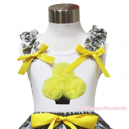 White Tank Top Grey White Quatrefoil Clover Ruffles Yellow Bow & Yellow Rosettes Cupcake TB1100