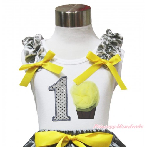 White Tank Top Grey White Quatrefoil Clover Ruffles Yellow Bow & 1st Sparkle White Birthday Number & Yellow Rosettes Cupcake TB1102