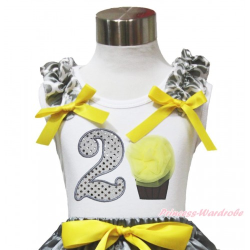 White Tank Top Grey White Quatrefoil Clover Ruffles Yellow Bow & 2nd Sparkle White Birthday Number & Yellow Rosettes Cupcake TB1103