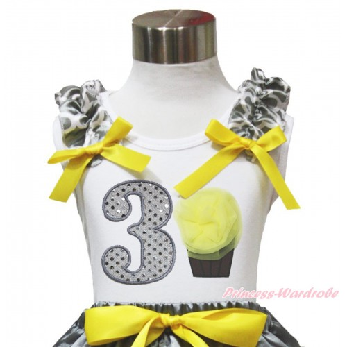 White Tank Top Grey White Quatrefoil Clover Ruffles Yellow Bow & 3rd Sparkle White Birthday Number & Yellow Rosettes Cupcake TB1104
