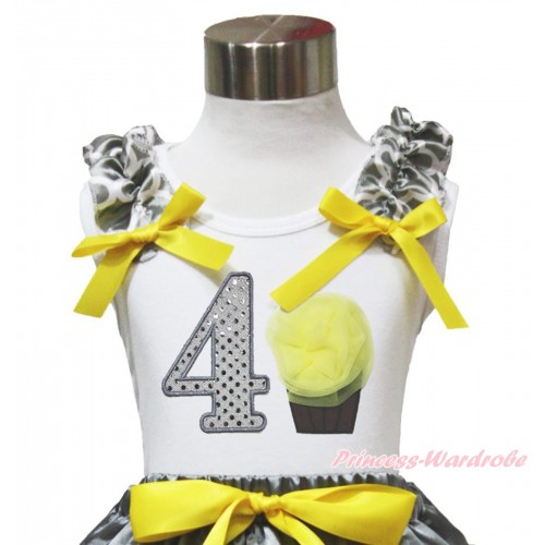 White Tank Top Grey White Quatrefoil Clover Ruffles Yellow Bow & 4th Sparkle White Birthday Number & Yellow Rosettes Cupcake TB1105