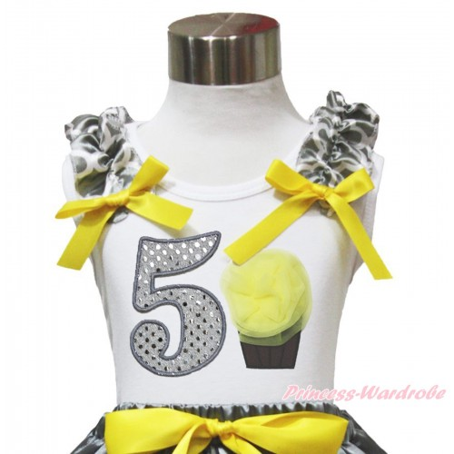 White Tank Top Grey White Quatrefoil Clover Ruffles Yellow Bow & 5th Sparkle White Birthday Number & Yellow Rosettes Cupcake TB1106