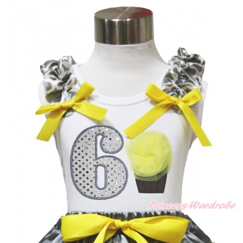 White Tank Top Grey White Quatrefoil Clover Ruffles Yellow Bow & 6th Sparkle White Birthday Number & Yellow Rosettes Cupcake TB1107