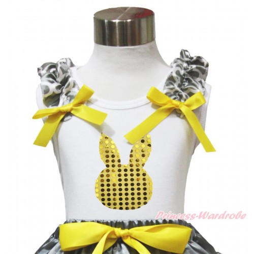 Easter White Tank Top Grey White Quatrefoil Clover Ruffles Yellow Bow & Yellow Sequins Rabbit TB1108