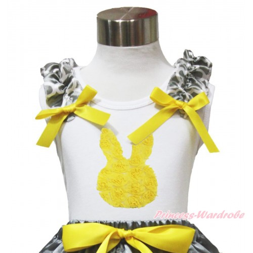 Easter White Tank Top Grey White Quatrefoil Clover Ruffles Yellow Bow & Yellow Rosettes Rabbit Print TB1110