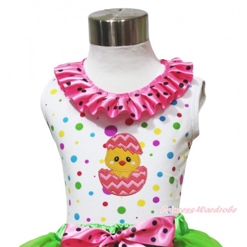 Easter White Rainbow Dots Tank Top Hot Pink Black Dots Lacing & Chick Egg Print TP265