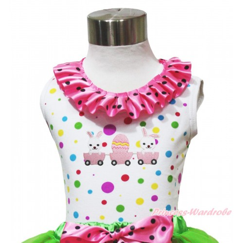 Easter White Rainbow Dots Tank Top Hot Pink Black Dots Lacing & Bubby Rabbit Egg Print TP266