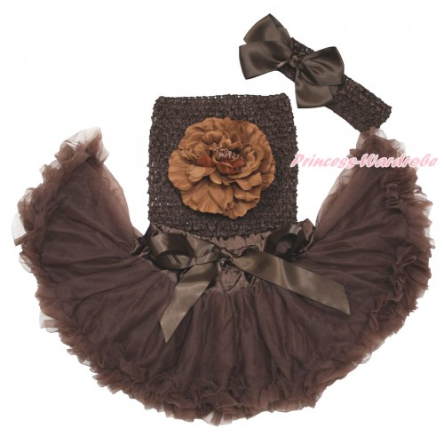 Brown Baby Pettiskirt, Peony Brown Crochet Tube Top, Headband & Silk Bow 3PC Set CT693