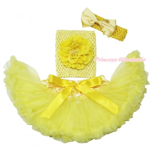 Yellow Baby Pettiskirt, Peony Yellow Crochet Tube Top, Headband & Silk Bow 3PC Set CT694