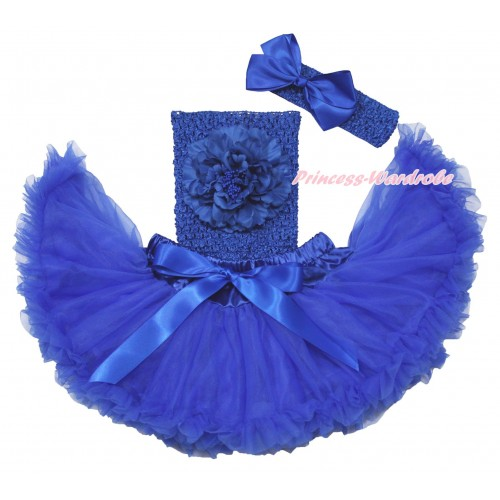 Royal Blue Baby Pettiskirt, Peony Royal Blue Crochet Tube Top, Headband & Silk Bow 3PC Set CT695