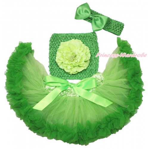 Light Dark Green Baby Pettiskirt, Light Green Peony Dark Green Crochet Tube Top, Headband & Silk Bow 3PC Set CT696