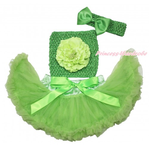 Light Green Baby Pettiskirt, Light Green Peony Dark Green Crochet Tube Top, Headband & Silk Bow 3PC Set CT697