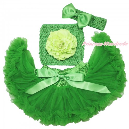 Dark Green Baby Pettiskirt, Light Green Peony Dark Green Crochet Tube Top, Headband & Silk Bow 3PC Set CT698