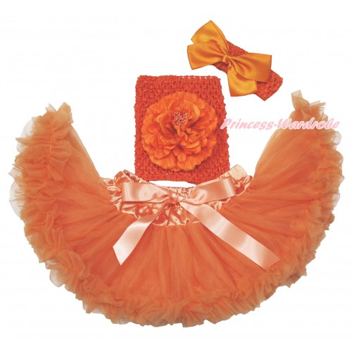 Orange Baby Pettiskirt, Peony Orange Crochet Tube Top, Headband & Silk Bow 3PC Set CT699