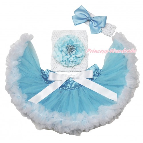 Light Blue White Baby Pettiskirt, Light Blue Peony White Crochet Tube Top,White Headband Light Blue Silk Bow 3PC Set CT701