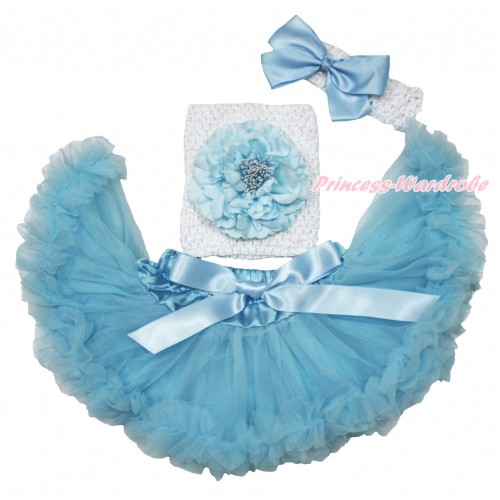 Light Blue Baby Pettiskirt, Peony White Crochet Tube Top,White Headband Light Blue Silk Bow 3PC Set CT702