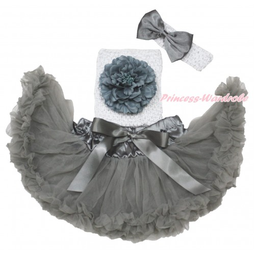 Grey Baby Pettiskirt, Peony White Crochet Tube Top,White Headband Grey Satin Bow 3PC Set CT703