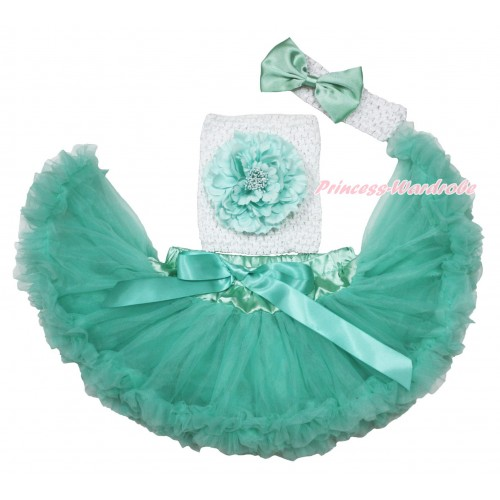 Aqua Blue Baby Pettiskirt, Peony White Crochet Tube Top,White Headband Aqua Blue Satin Bow 3PC Set CT704