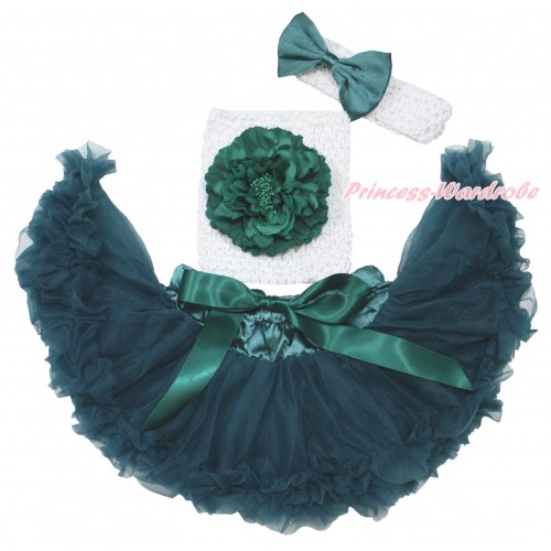 Teal Green Baby Pettiskirt, Green Peony White Crochet Tube Top,White Headband Teal Green Satin Bow 3PC Set CT705