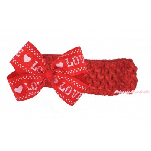 Red Headband & Pink LOVE Red Ribbon Bow Hair Clip H1014