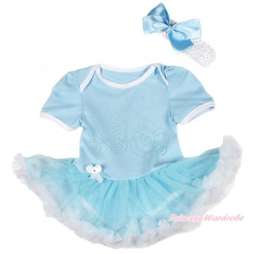 Light Blue Baby Bodysuit Light Blue White Pettiskirt & Sparkle Rhinestone Cinderella Carriage Print JS4457